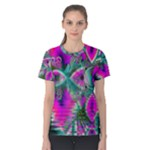 Crystal Flower Garden, Abstract Teal Violet Women s Cotton Tee