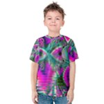 Crystal Flower Garden, Abstract Teal Violet Kid s Cotton Tee