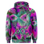 Crystal Flower Garden, Abstract Teal Violet Men s Pullover Hoodie
