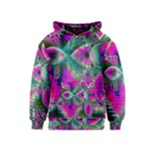 Crystal Flower Garden, Abstract Teal Violet Kids  Pullover Hoodie
