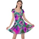 Crystal Flower Garden, Abstract Teal Violet Cap Sleeve Dresses