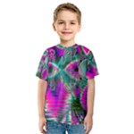 Crystal Flower Garden, Abstract Teal Violet Kid s Sport Mesh Tee