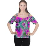 Crystal Flower Garden, Abstract Teal Violet Women s Cutout Shoulder Tee