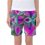 Crystal Flower Garden, Abstract Teal Violet Women s Basketball Shorts