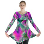 Crystal Flower Garden, Abstract Teal Violet Long Sleeve Tunic