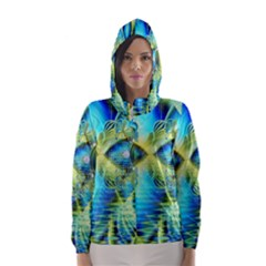 Crystal Lime Turquoise Heart Of Love, Abstract Hooded Wind Breaker (women) by DianeClancy
