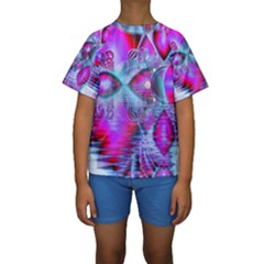 Crystal Northern Lights Palace, Abstract Ice  Kid s Short Sleeve Swimwear by DianeClancy
