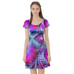 Crystal Northern Lights Palace, Abstract Ice  Short Sleeve Skater Dress by DianeClancy