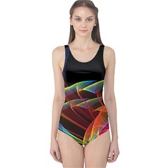 Dancing Northern Lights, Abstract Summer Sky  One Piece Swimsuit by DianeClancy