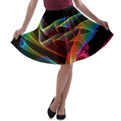 Dancing Northern Lights, Abstract Summer Sky  A Line Skater Skirt by DianeClancy