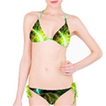 Dawn Of Time, Abstract Lime & Gold Emerge Bikini Set