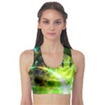 Dawn Of Time, Abstract Lime & Gold Emerge Sports Bra