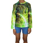 Dawn Of Time, Abstract Lime & Gold Emerge Kid s Long Sleeve Swimwear