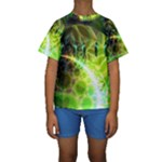 Dawn Of Time, Abstract Lime & Gold Emerge Kid s Short Sleeve Swimwear