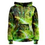 Dawn Of Time, Abstract Lime & Gold Emerge Women s Pullover Hoodie
