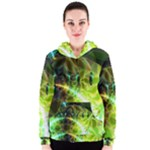 Dawn Of Time, Abstract Lime & Gold Emerge Women s Zipper Hoodie