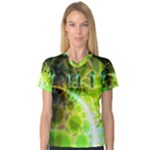 Dawn Of Time, Abstract Lime & Gold Emerge Women s V-Neck Sport Mesh Tee
