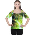 Dawn Of Time, Abstract Lime & Gold Emerge Women s Cutout Shoulder Tee