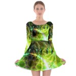 Dawn Of Time, Abstract Lime & Gold Emerge Long Sleeve Skater Dress