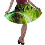 Dawn Of Time, Abstract Lime & Gold Emerge A-line Skater Skirt