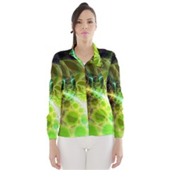 Dawn Of Time, Abstract Lime & Gold Emerge Wind Breaker (women) by DianeClancy