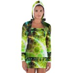 Dawn Of Time, Abstract Lime & Gold Emerge Women s Long Sleeve Hooded T-shirt