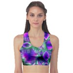 Evening Crystal Primrose, Abstract Night Flowers Sports Bra