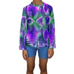 Evening Crystal Primrose, Abstract Night Flowers Kid s Long Sleeve Swimwear