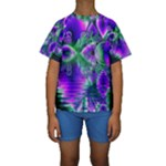 Evening Crystal Primrose, Abstract Night Flowers Kid s Short Sleeve Swimwear