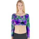 Evening Crystal Primrose, Abstract Night Flowers Long Sleeve Crop Top