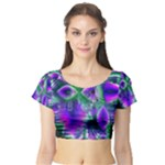 Evening Crystal Primrose, Abstract Night Flowers Short Sleeve Crop Top (Tight Fit)
