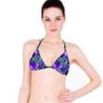 Evening Crystal Primrose, Abstract Night Flowers Bikini Top