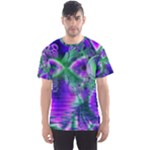 Evening Crystal Primrose, Abstract Night Flowers Men s Sport Mesh Tee