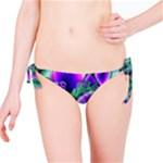 Evening Crystal Primrose, Abstract Night Flowers Bikini Bottom