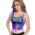 Evening Crystal Primrose, Abstract Night Flowers Crop Top