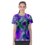 Evening Crystal Primrose, Abstract Night Flowers Women s Sport Mesh Tee