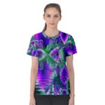 Evening Crystal Primrose, Abstract Night Flowers Women s Cotton Tee