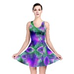 Evening Crystal Primrose, Abstract Night Flowers Reversible Skater Dress