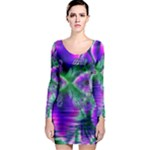 Evening Crystal Primrose, Abstract Night Flowers Long Sleeve Bodycon Dress