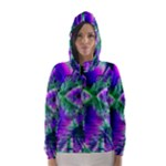 Evening Crystal Primrose, Abstract Night Flowers Hooded Wind Breaker (Women)