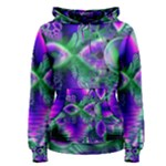 Evening Crystal Primrose, Abstract Night Flowers Women s Pullover Hoodie