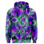 Evening Crystal Primrose, Abstract Night Flowers Men s Zipper Hoodie