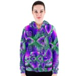 Evening Crystal Primrose, Abstract Night Flowers Women s Zipper Hoodie
