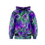 Evening Crystal Primrose, Abstract Night Flowers Kids  Zipper Hoodie