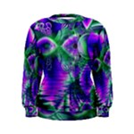 Evening Crystal Primrose, Abstract Night Flowers Women s Sweatshirt
