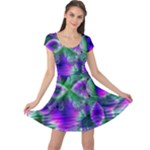 Evening Crystal Primrose, Abstract Night Flowers Cap Sleeve Dresses