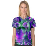 Evening Crystal Primrose, Abstract Night Flowers Women s V-Neck Sport Mesh Tee