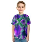Evening Crystal Primrose, Abstract Night Flowers Kid s Sport Mesh Tee