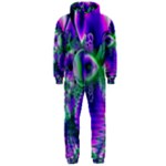Evening Crystal Primrose, Abstract Night Flowers Hooded Jumpsuit (Men)