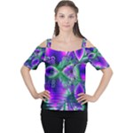 Evening Crystal Primrose, Abstract Night Flowers Women s Cutout Shoulder Tee